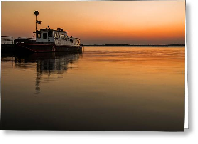 Danube Greeting Cards - Barge on Danube Greeting Card by Davorin Mance