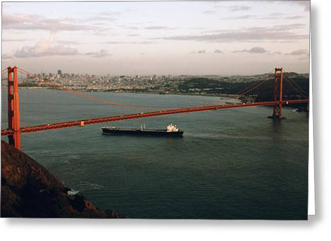 Sky High Greeting Cards - Barge Passing Under A Bridge, Golden Greeting Card by Panoramic Images