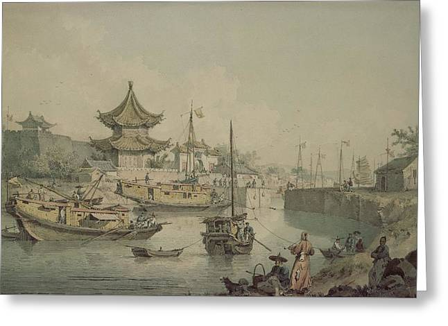 Barges Of Lord Macartneys Embassy To China Greeting Card by William Alexander