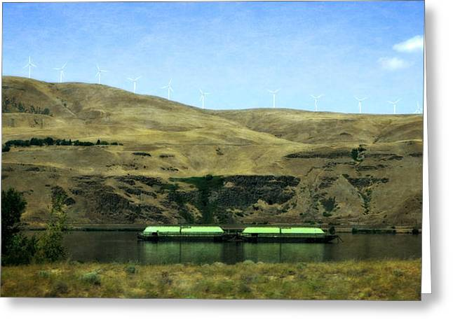 Pacific Northwest Digital Art Greeting Cards - Barges on the Columbia Greeting Card by Michelle Calkins