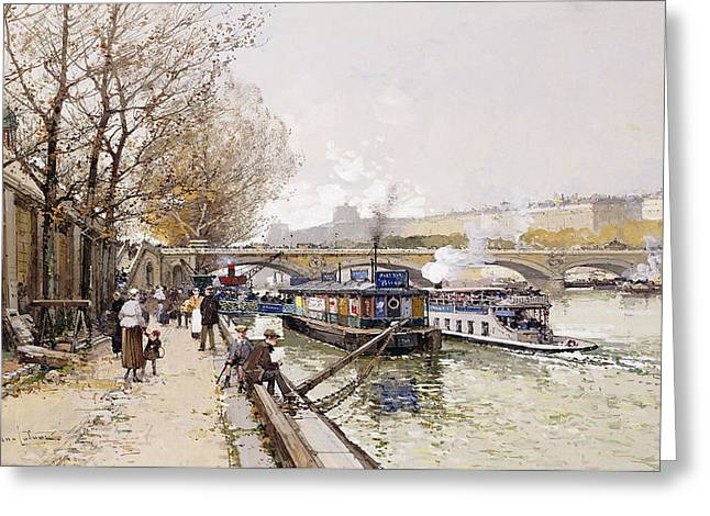 Water Vessels Greeting Cards - Barges on the Seine Greeting Card by Eugene Galien-Laloue