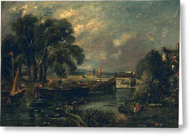 Dedham Greeting Cards - Barges On The Stour Greeting Card by John Constable
