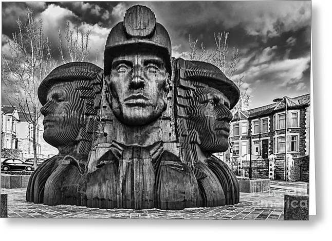 Coalmine Greeting Cards - Bargoed Miners 2 Mono Greeting Card by Steve Purnell
