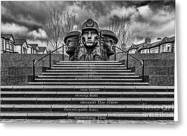 Coalmine Greeting Cards - Bargoed Miners Mono Greeting Card by Steve Purnell
