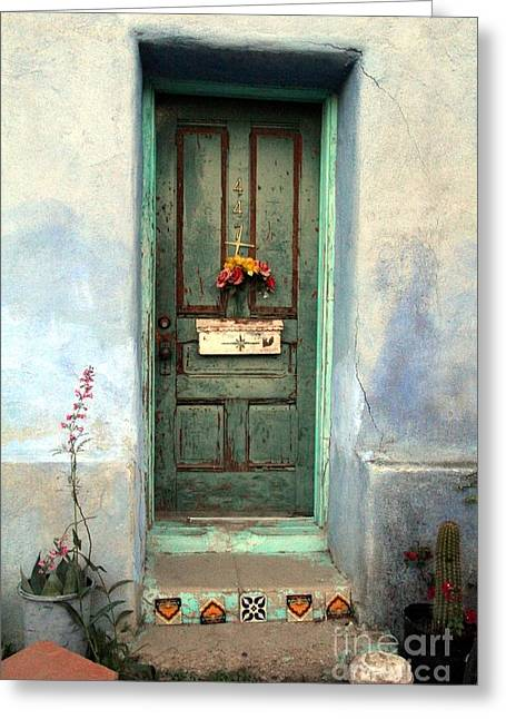 Recently Sold -  - Stepping Stones Greeting Cards - Doors Bario Tucson Greeting Card by Diane  Greco-Lesser