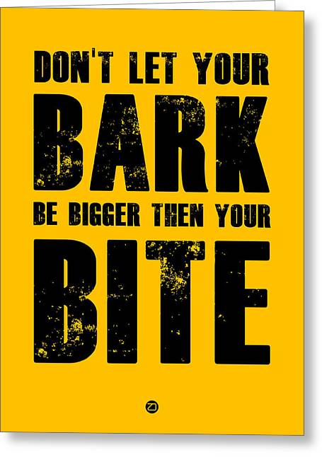 Sports Posters Digital Art Greeting Cards - Bark And Bite Poster Yellow Greeting Card by Naxart Studio