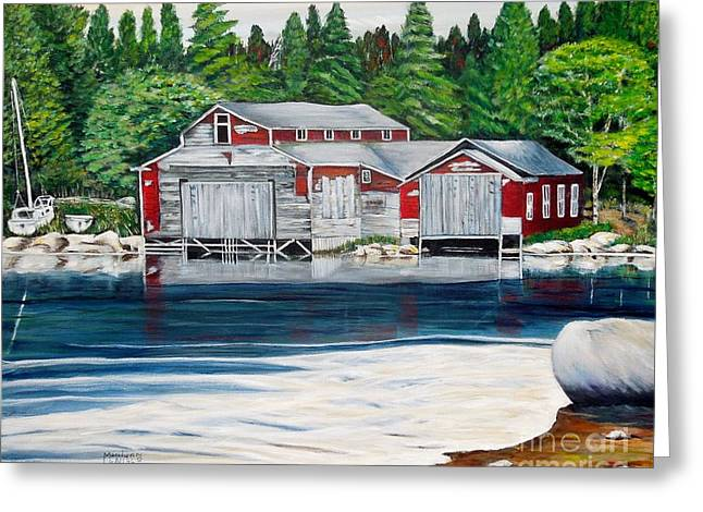 Sheds Greeting Cards - Barkhouse Boatshed Greeting Card by Marilyn  McNish