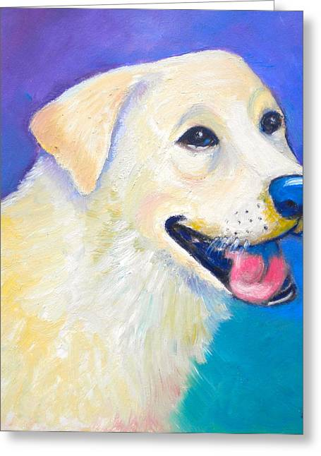 White Lab Greeting Cards - Barkley Greeting Card by Debi Starr