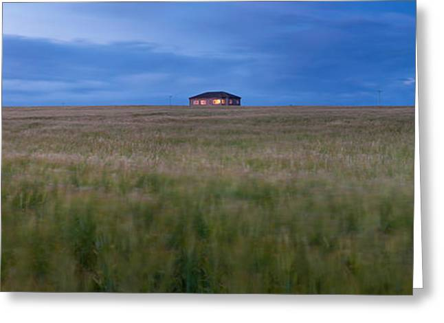 Barley Field With A House Greeting Card by Panoramic Images