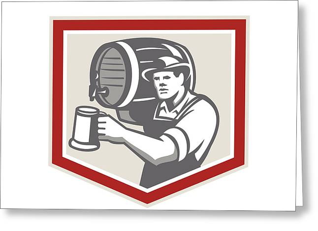 Pouring Digital Art Greeting Cards - Barman Lifting Barrel Pouring Beer Mug Retro Greeting Card by Aloysius Patrimonio