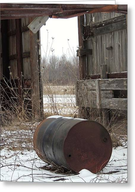 Barn And Rusted Barrel Greeting Cards - Barn #40 Greeting Card by Todd Sherlock