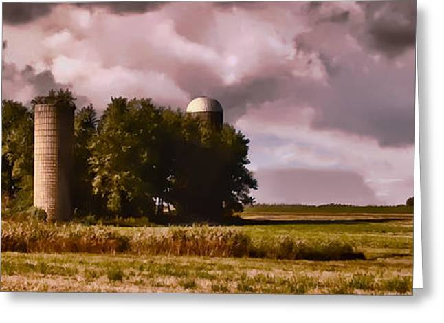 Farm Stand Greeting Cards - Barn and 2 Silos Greeting Card by Greg Jackson