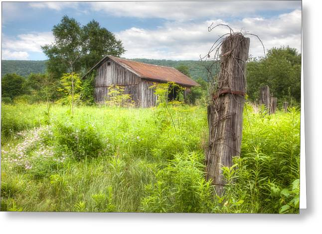 Finger Lakes Greeting Cards - Old barn near Stryker Rd. Rustic Landscape Greeting Card by Gary Heller