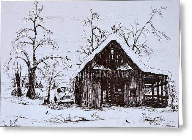 Trees In Snow Drawings Greeting Cards - Barn and car Greeting Card by Jeannie Anderson