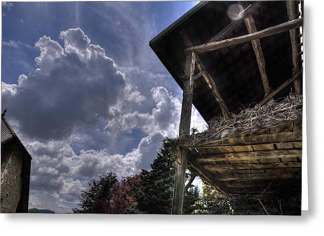 Belley Greeting Cards - Barn and clouds Greeting Card by Nicolas Roux