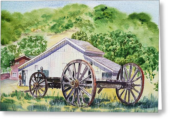 Chicken Coop Greeting Cards - Barn and Old Wagon at Eugene O Neill Tao House Greeting Card by Irina Sztukowski