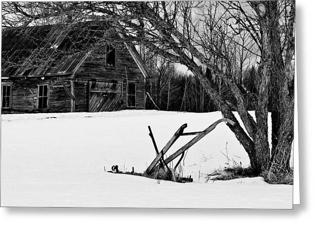 Winter Farm Scene Greeting Cards - Barn And Plow Jefferson NH Greeting Card by Jeff Sinon