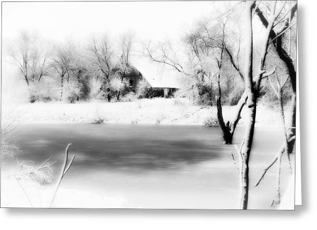 Hardware Greeting Cards - Barn and Pond Greeting Card by Julie Hamilton