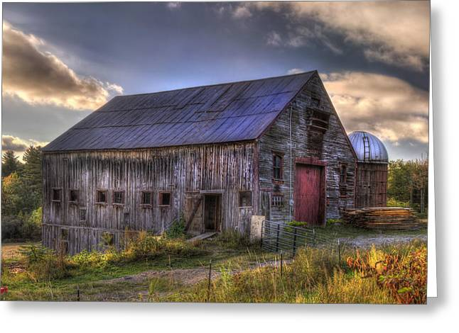 New England Fall Scenes Greeting Cards - Barn and Silo in Autumn Greeting Card by Joann Vitali