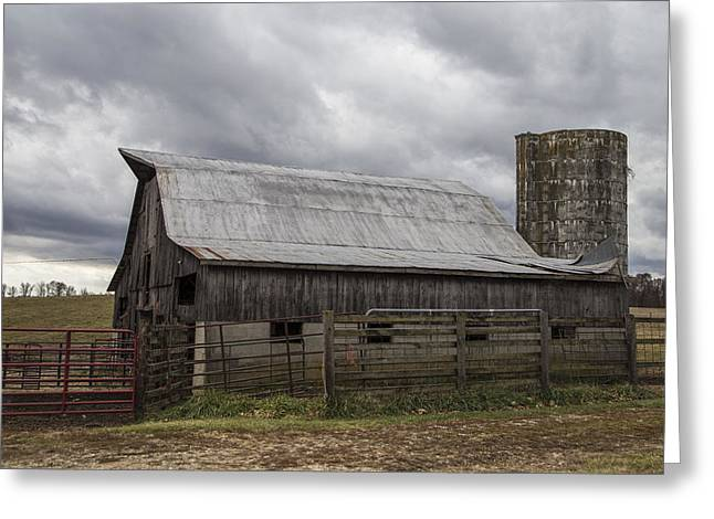 Barn And Silo Greeting Cards - Barn and Silo in Kentucky  Greeting Card by John McGraw