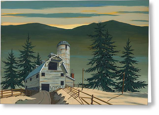 Silos Greeting Cards - Barn and Silo Greeting Card by John Wyckoff