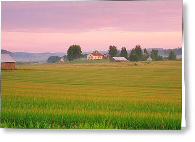 Agricultural Building Greeting Cards - Barn And Wheat Field Across Farmlands Greeting Card by Panoramic Images