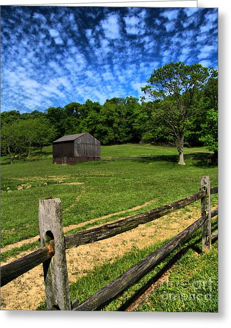 Meadow Greeting Cards - Barn at Hartwood Acres Under Beautiful Sky Greeting Card by Amy Cicconi