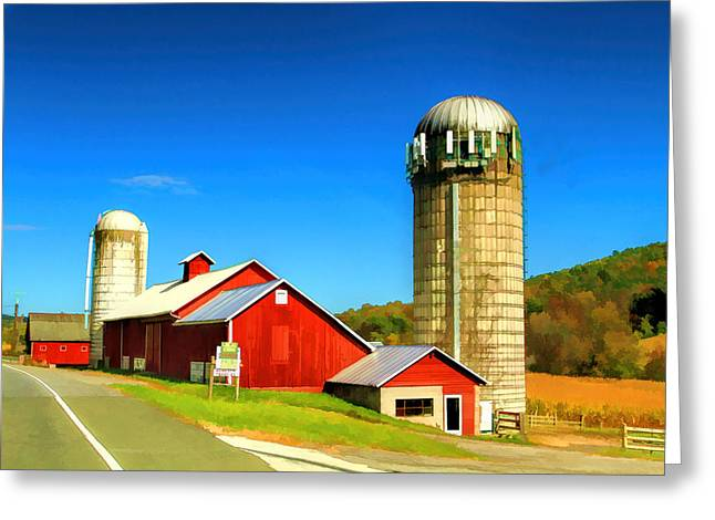 Popular Art Greeting Cards - barn at High point nj oil painting Greeting Card by Geraldine Scull