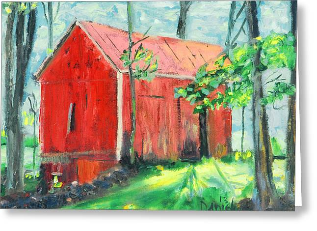 Dilapidated Paintings Greeting Cards - Barn at Walpack Greeting Card by Michael Daniels
