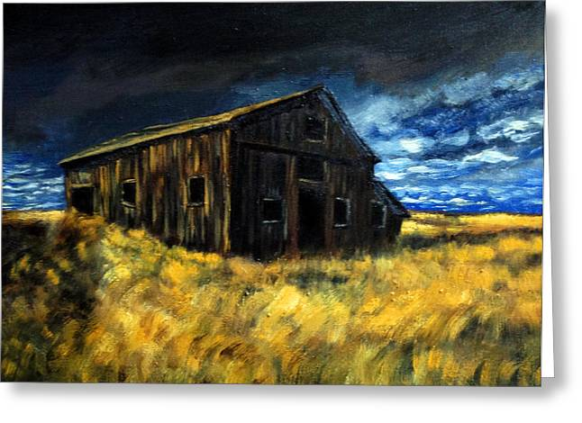Dilapidated Paintings Greeting Cards - Barn Burner 4 Greeting Card by Deb Wolf