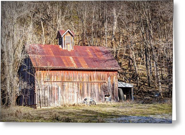 Hartsburg Greeting Cards - Barn by the Bluffs Greeting Card by Cricket Hackmann