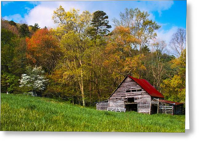 Tennessee Farm Greeting Cards - Barn Colors Greeting Card by Debra and Dave Vanderlaan