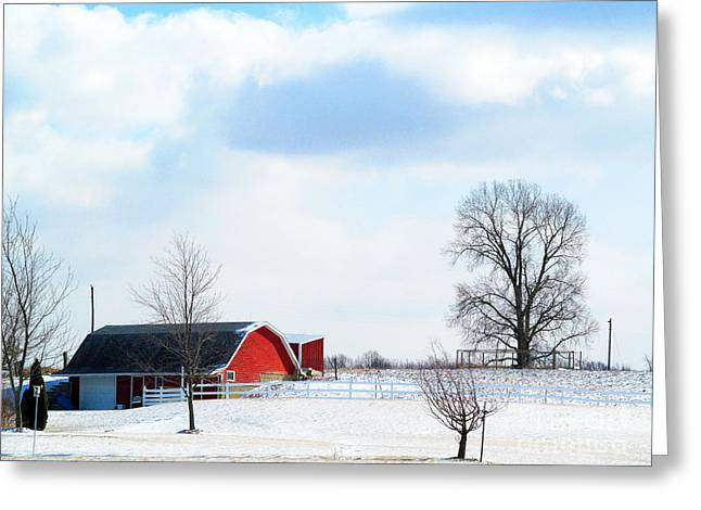Barn Covered with Snow Greeting Card by Tina M Wenger
