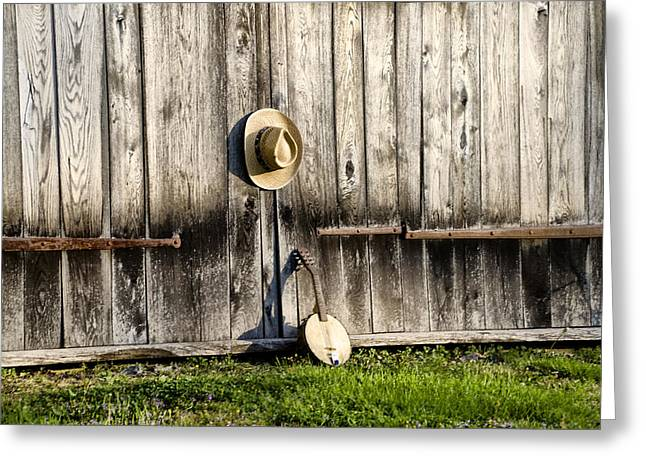 Barn Door And Banjo Mandolin Greeting Card by Bill Cannon