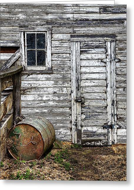 Old Barn Drawing Greeting Cards - Barn Door Greeting Card by Armando Picciotto