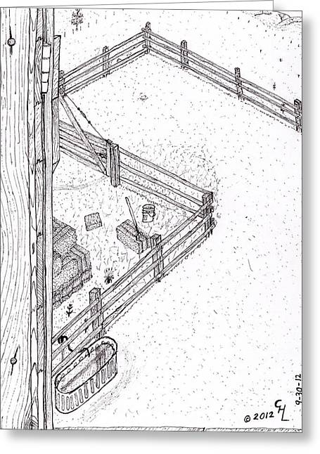 Bale Drawings Greeting Cards - Barn door Greeting Card by Clark Letellier