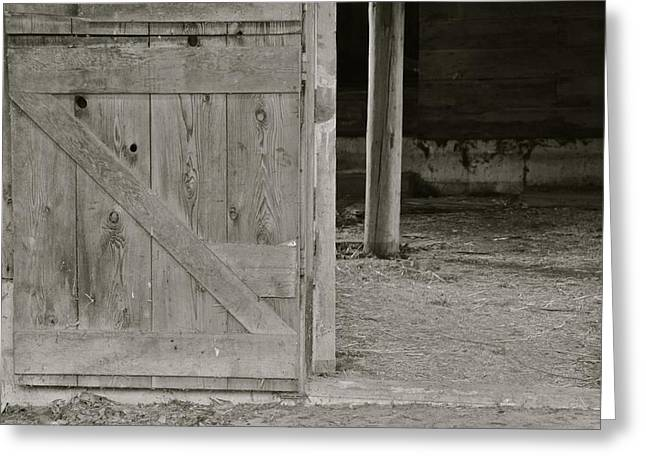 Barn In Woods Photographs Greeting Cards - Barn Door Greeting Card by Rachel Cash