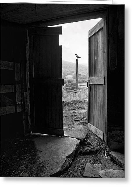 Old Door Greeting Cards - Barn Door - View from within - Old barn picture Greeting Card by Gary Heller