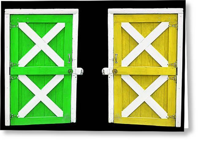 Entrance Door Greeting Cards - Barn Doors Greeting Card by Gunter Nezhoda