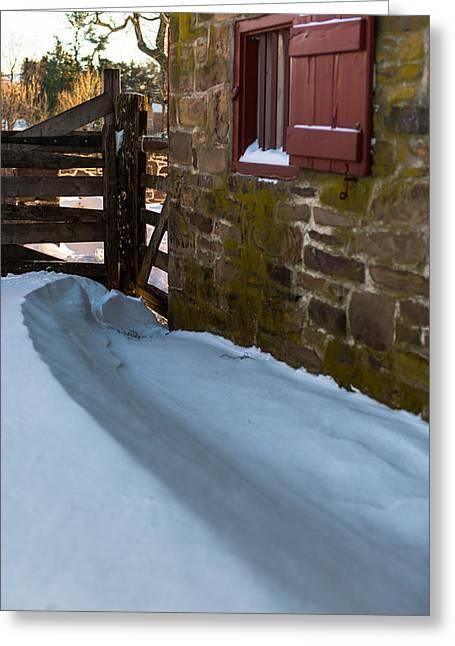 Snow Drifts Greeting Cards - Barn Drift Greeting Card by Scott Hafer