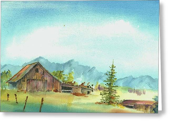 Old Fence Posts Paintings Greeting Cards - Barn--East of the Sierras Greeting Card by David Patrick