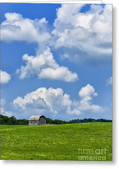 Nicholas Greeting Cards - Barn Field and Clouds Greeting Card by Thomas R Fletcher
