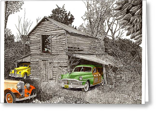 Barn Pen And Ink Greeting Cards - Barn Finds classic cars Greeting Card by Jack Pumphrey