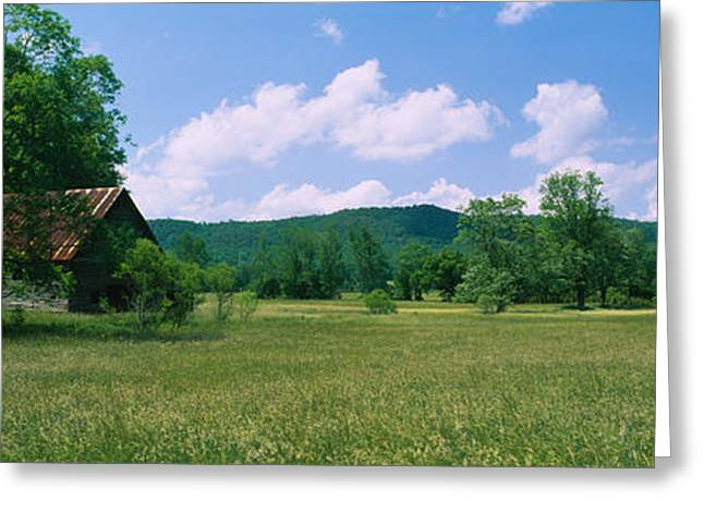 Tennessee Farm Greeting Cards - Barn In A Field, Cades Cove, Great Greeting Card by Panoramic Images
