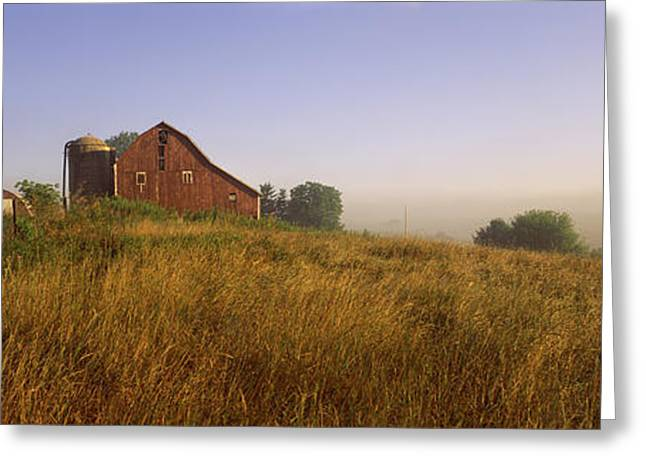 Agricultural Building Greeting Cards - Barn In A Field, Iowa County Greeting Card by Panoramic Images