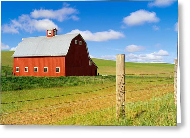 Wooden Building Greeting Cards - Barn In A Field Greeting Card by Panoramic Images