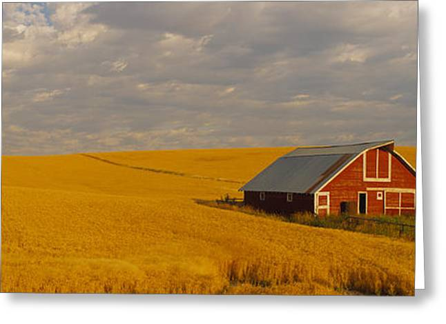 Field. Cloud Greeting Cards - Barn In A Wheat Field, Palouse Greeting Card by Panoramic Images