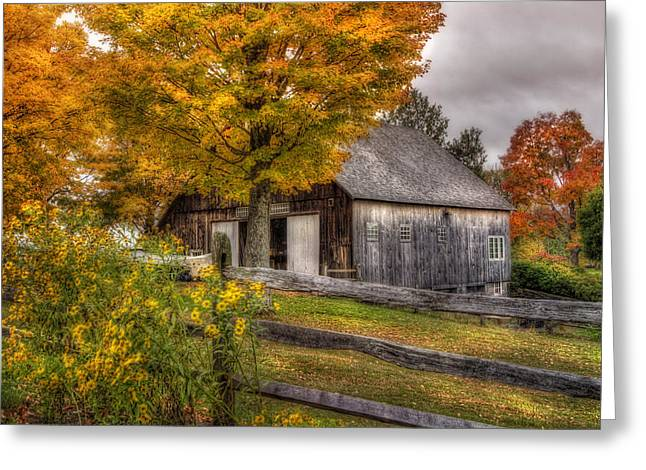Autumn Scenes Greeting Cards - Barn in Autumn Greeting Card by Joann Vitali