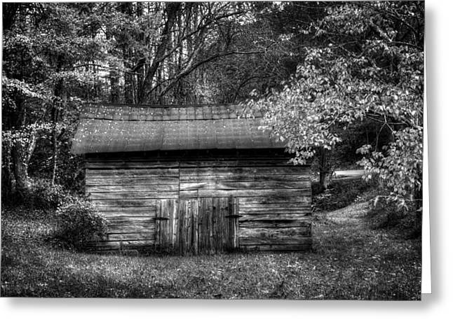 Wnc Greeting Cards - Barn In Black and White Greeting Card by Greg Mimbs