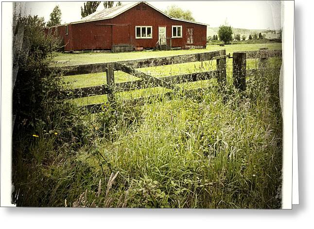 Sheds Greeting Cards - Barn in field Greeting Card by Les Cunliffe